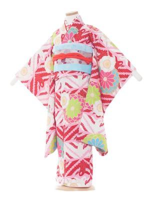 七五三レンタル(5歳女の子結び帯)5011 ピンク地/紅白鶴・花