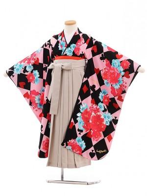 女児袴7歳7769 Chubbygangピンクトランプ 花×グレージュ袴