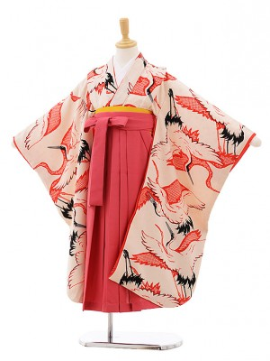 女児袴レンタル(7歳)7642 モダンアンテナ クリーム鶴×ピンク袴
