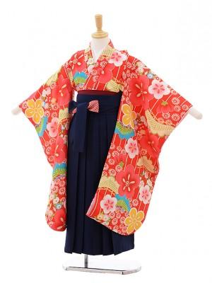 女児袴レンタル(7歳)7646 小町kids 赤地 梅×紺袴