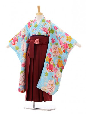 女児袴レンタル(7歳)7643 小町kids 水色 まり×エンジ袴