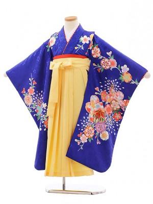 女児袴レンタル(7歳)7773 ブルー地 桜×きいろ袴