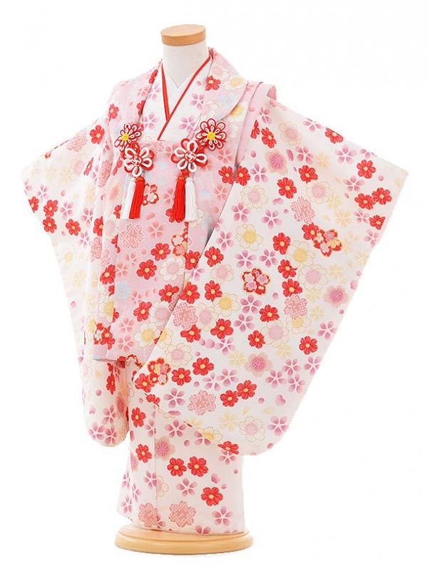 七五三レンタル(3歳女被布)F078 ピンク×白 小花