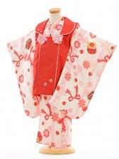 七五三(3歳女被布)F037スザンヌ赤×白イチゴ