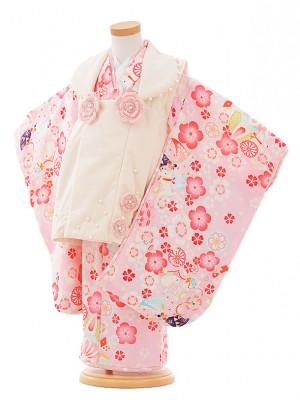 七五三レンタル(3歳女被布)F072 ポンポネット 白×ピンク 花