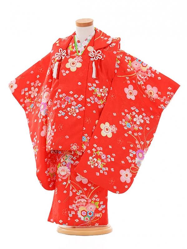 七五三レンタル(3歳女被布)F174 赤×赤 小花