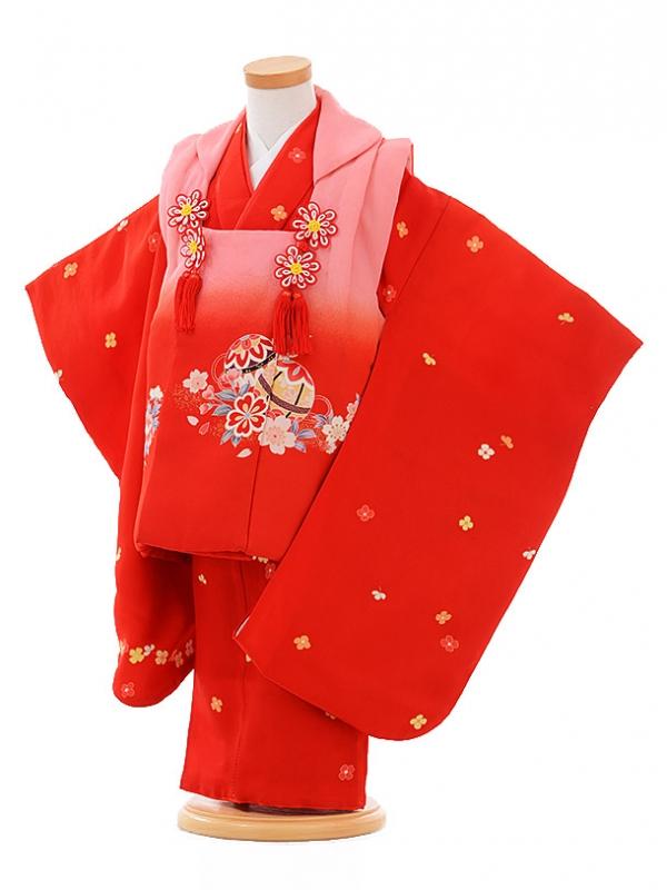 七五三レンタル(3歳女被布)F081 ピンクぼかし まり桜×赤