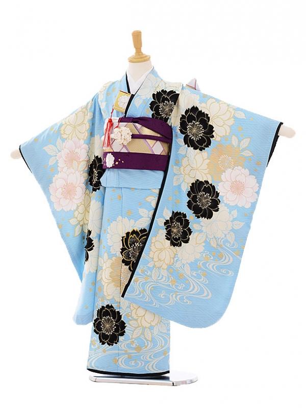 七五三レンタル(7歳女結び帯)F098 BLUECROSS 水色×白桜