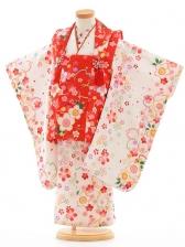 七五三(3歳女被布)F049赤×白桜
