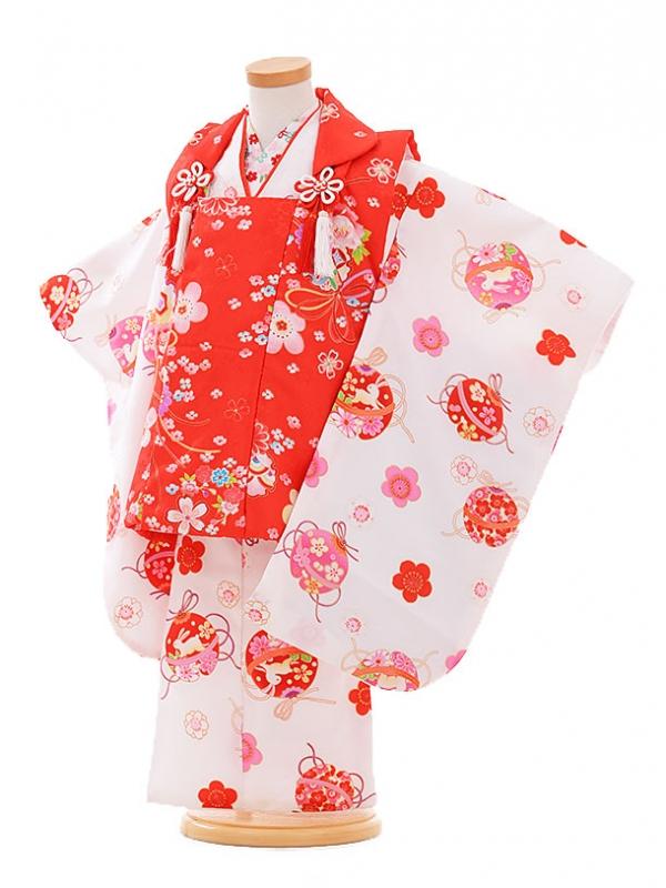 七五三レンタル(3歳女被布)F178 赤×白 まりうさぎ