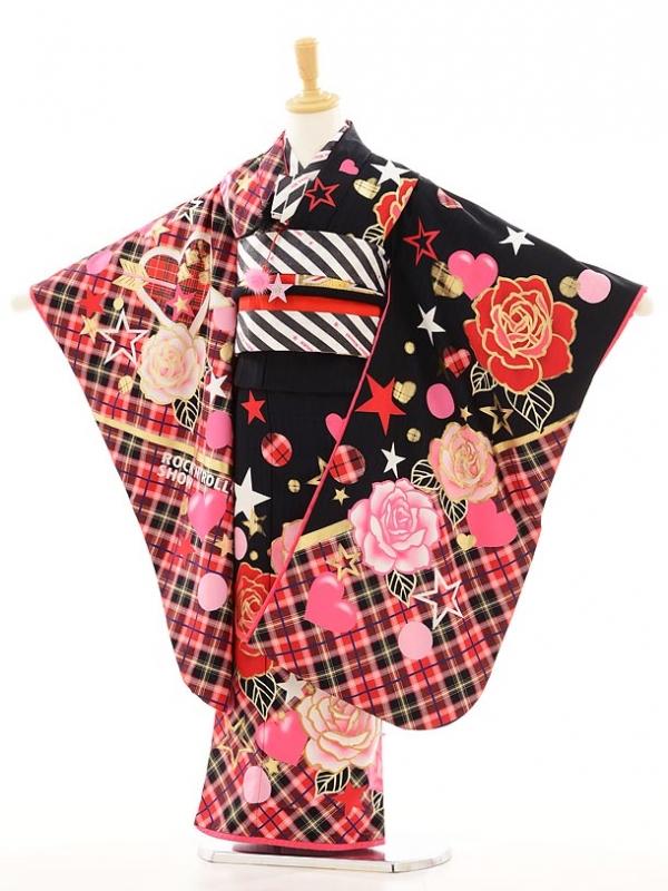 七五三レンタル(7歳女結び帯)F011 黒×赤