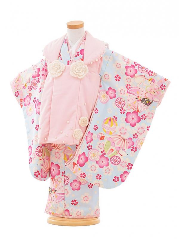 七五三レンタル(3歳女被布)F062 ポンポネット ピンク×水色 花