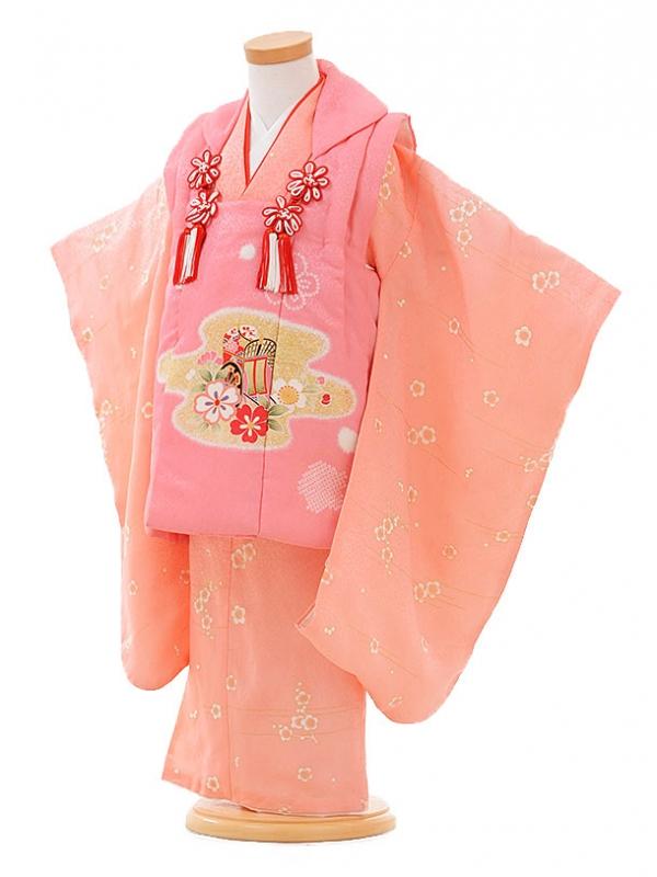 七五三レンタル(3歳女被布)F077 ピンク×ピンク 梅