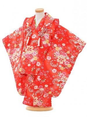 七五三レンタル(3歳女被布)F095 赤×赤 バラ