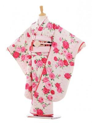 七五三レンタル(7歳女結び帯)F102 白地ピンクバラ