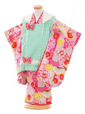 七五三レンタル(3歳女被布)F066 JAPANSTYLE 水色×ピンク