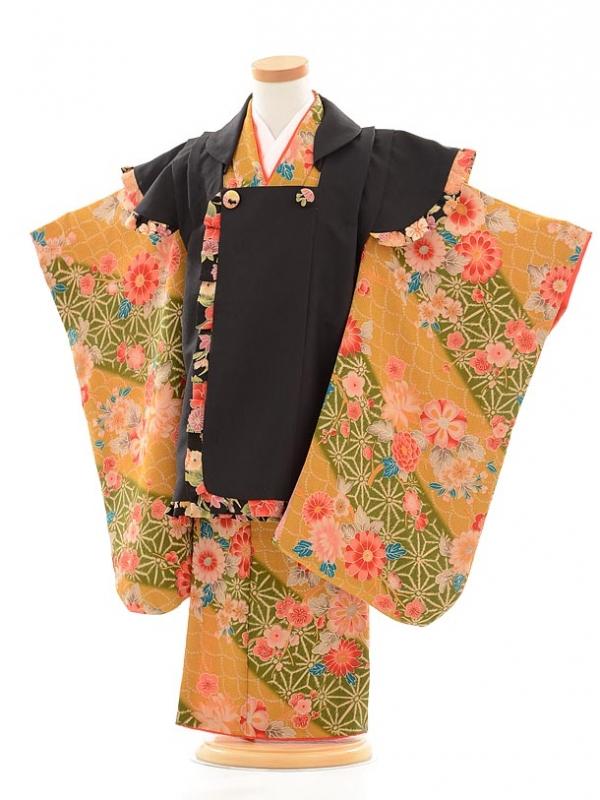 七五三レンタル(3歳女被布)F043黒×からし花
