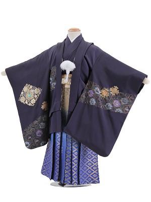 753レンタル(5歳男)A614紫カブト袴紺FFA10・K