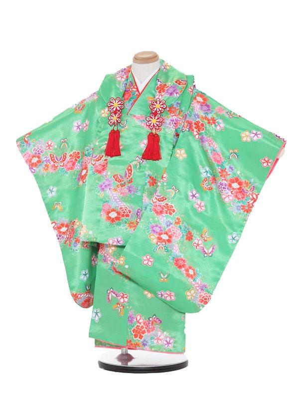 七五三(3歳女被布)被布F313緑/蝶花