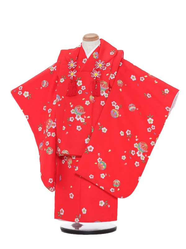 七五三(3歳女被布)被布F319赤/まり桜