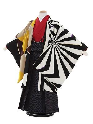 七五三レンタル(3歳男袴)3001 蒼 ベージュ黒 変わり柄 アシンメトリー