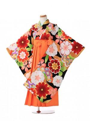 卒園式 ジュニア袴(女の子) モダン 黒 7217