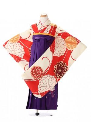 卒園式 ジュニア袴(女の子) クリーム赤モダン 7282