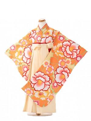 卒園式 ジュニア袴(女の子) 花わらべ オレンジ 7264