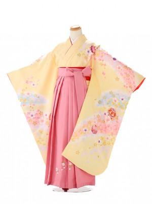 卒園式 ジュニア袴(女の子) 虹色イエロー 7267