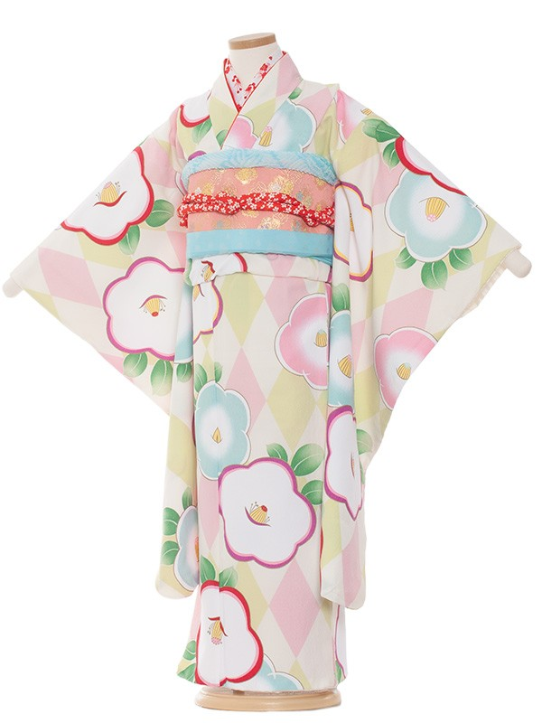 七五三(7女)7108 白地×花とピンク菱模様