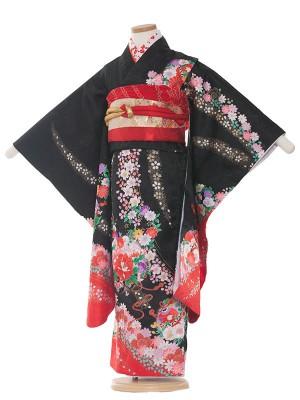 七五三レンタル(7歳女の子結び帯)7069  黒×赤/花吹雪