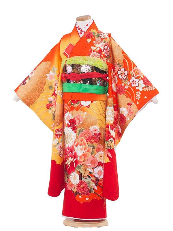 七五三(7女)7117 オレンジ地×花橘