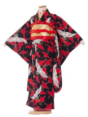 七五三レンタル(7歳女の子結び帯)7016 黒地/鶴の舞