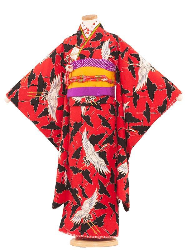 七五三(7女)7015 赤地/鶴の舞