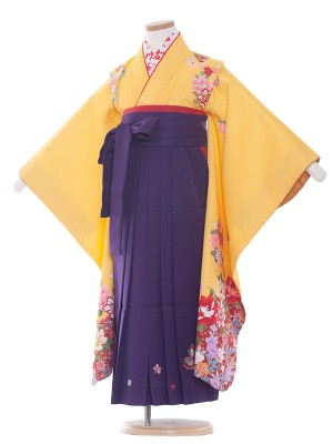 女児袴(7女) 9012 黄×赤/花と蝶/袴