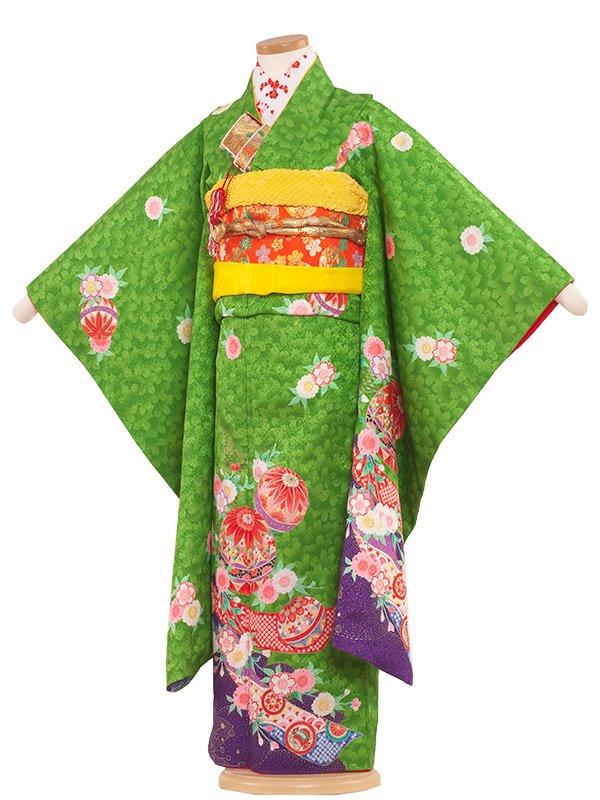 七五三(7女)7030 黄緑/桜地に手まり