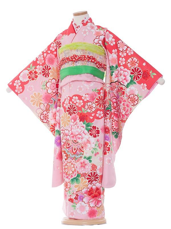 七五三(7女)7101 淡ピンク地×毬と群華