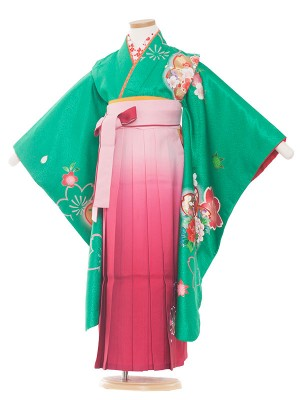 女児袴(7女)9042 グリーン/福寿草 袴