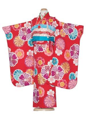 七五三レンタル(7歳女の子結び帯)7164 赤地×梅桜紋