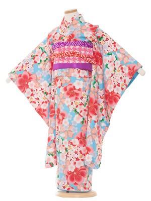七五三レンタル(7歳女の子結び帯)7070 水色/ピンク花総柄