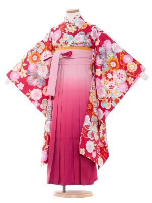 女児袴(7女) 9004 赤/花柄 / 袴