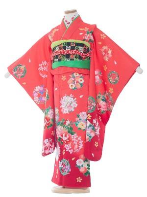 七五三レンタル(7歳女の子結び帯)7034 ピンク/雪輪と花