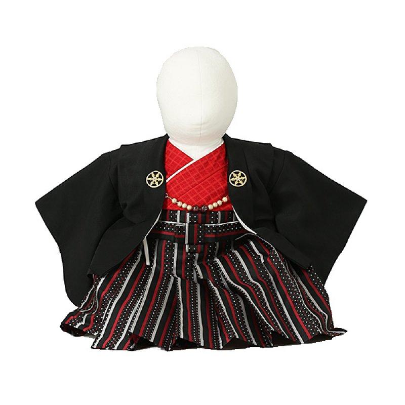ベビー着物(男)0003 一体型 黒×赤
