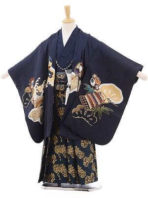 七五三レンタル(5歳男の子袴)紺色 兜×深緑 金