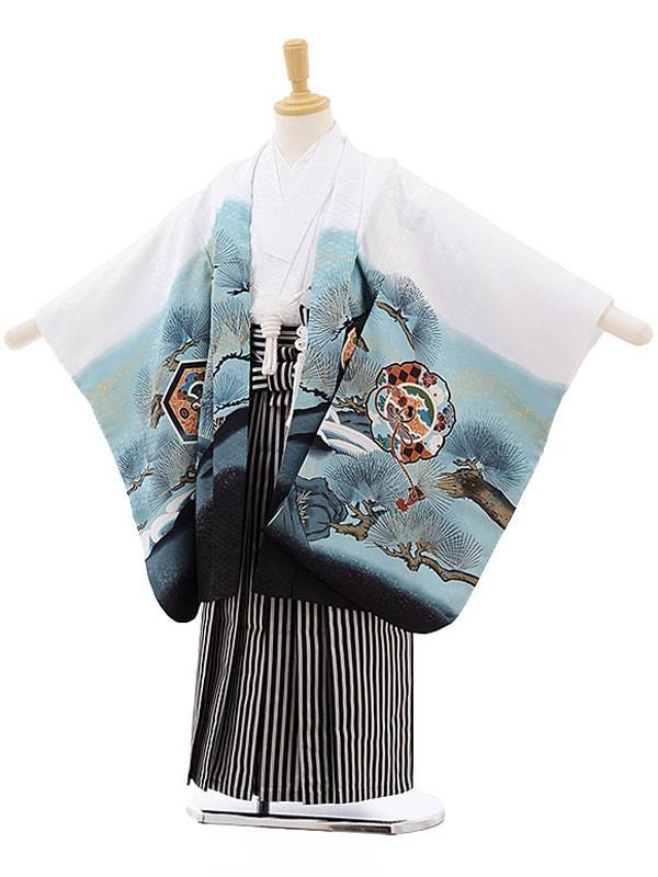 七五三レンタル(5歳男の子袴)白/鷹に鏡