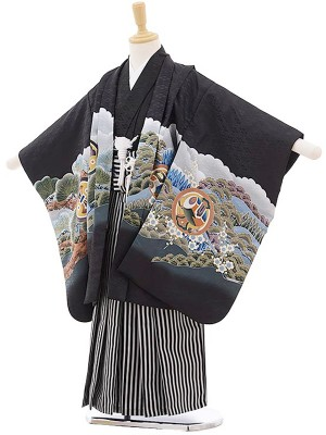 七五三レンタル(5歳男の子袴)黒/鷹に富士