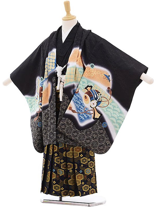 七五三レンタル(5歳男の子袴)黒/鷹に鼓