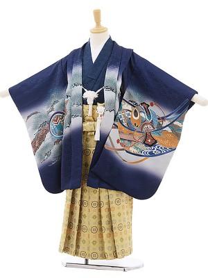 七五三レンタル(5歳男の子袴)紺/兜に軍配