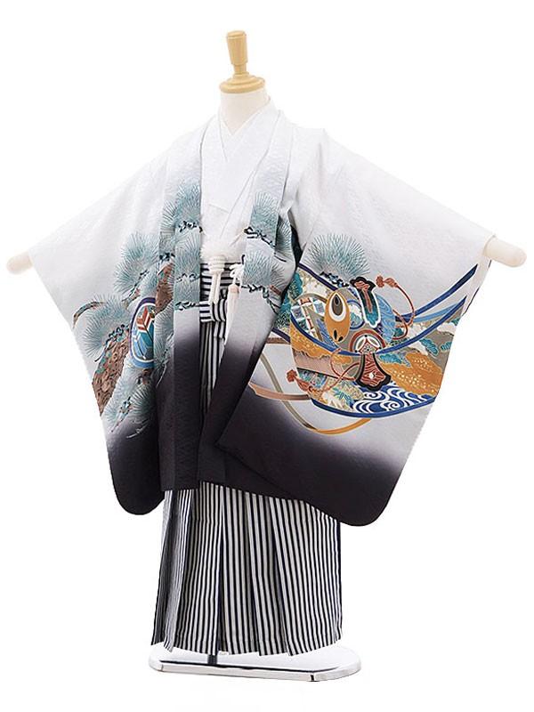 七五三レンタル(5歳男の子袴)白/兜に軍配
