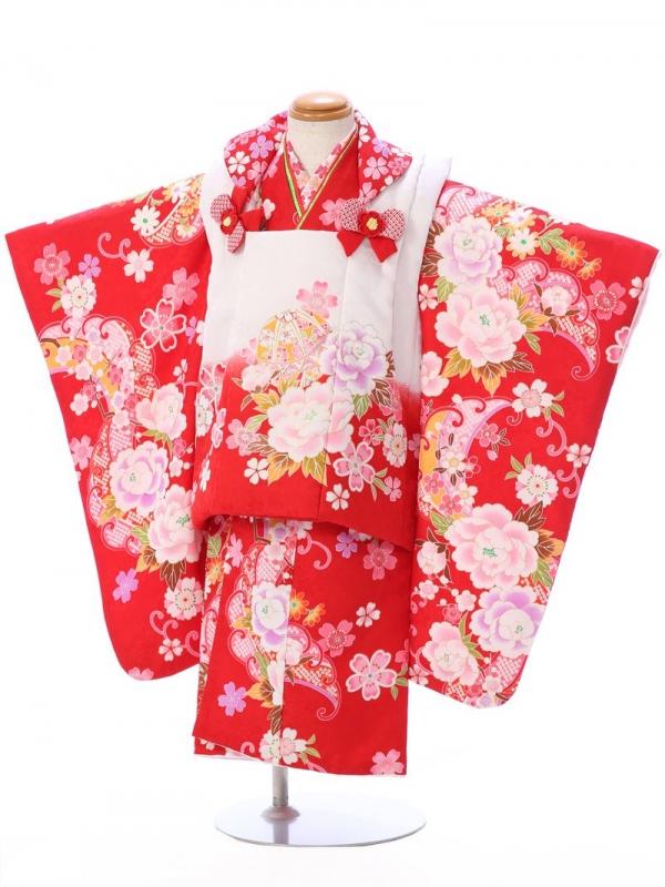 七五三(3歳女)h402C 白/赤 牡丹に桜